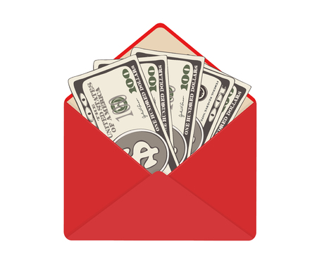 USA banking currency in open red envelope. One hundred dollar bills as gift, close-up. Bribe in envelope, bribery and corruption. Vector illustration. Dollar banknotes as present, salary.