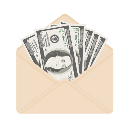 USA banking currency in open beige envelope. One hundred dollar bills as gift, close-up. Bribe in envelope, bribery and corruption vector illustration, dollar banknotes as present.