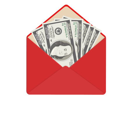USA banking currency in open red envelope. One hundred dollar bills as gift, close-up. Bribe in envelope, bribery and corruption. Vector illustration. Dollar banknotes as present. Isolated on white.