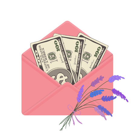 USA banking currency in open pink envelope with bouquet of lavender. One hundred dollar bills as gift, close-up. Vector illustration. Dollar banknotes as present.