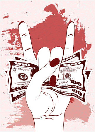 Heavy metal hand gesture with clutched currency USA. Rock-n-roll sign with crumpled money on textured background with red paint. Hand with several of bill one hundred dollars. Vector illustration. Ilustração