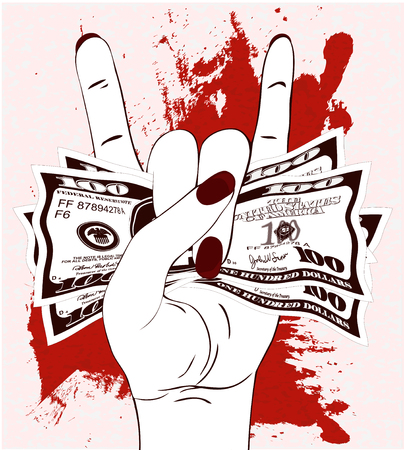 Heavy metal hand gesture with clutched currency USA. Rock-n-roll sign with crumpled money on textured background with red paint.