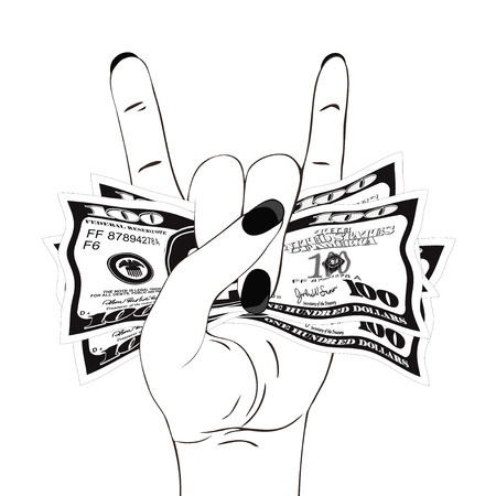 Heavy metal hand gesture with clutched currency USA. Rock-n-roll sign with crumpled money on white background. Hand with several of bill one hundred dollars. Vector illustration. Illustration