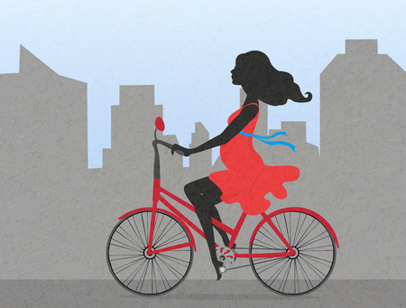 Silhouette  of pregnant woman on red bike on backdrop of city. Vector illustration.