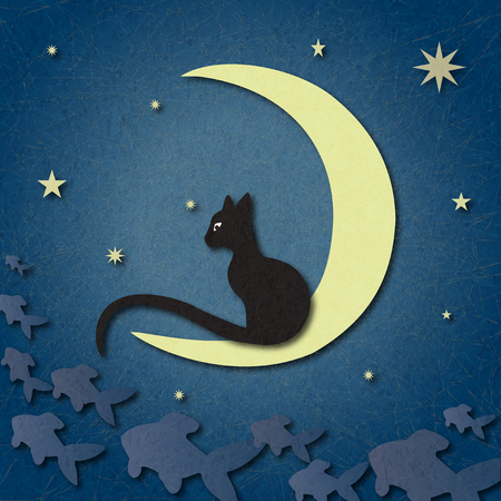 Black cat sits on moon and catches fish among starry sky. Illustration suitable for illustrating mysteries, covert, unusual and enigmatic stories, fantasy, fairy tales. Marbled, scratched background. Stock fotó