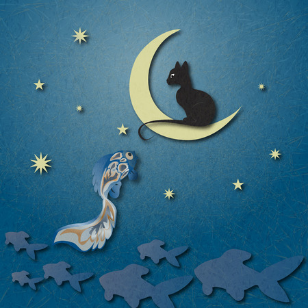 Black cat sitting on moon and fishing golden fish among starry sky.