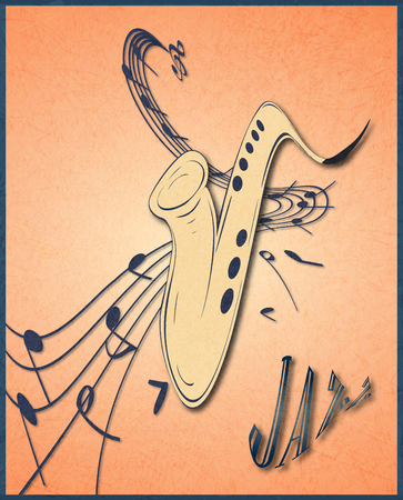 Illustration of saxophone and musical notes on stave, grunge background and texture. Banque d'images - 107353549