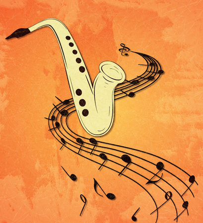 Illustration of saxophone and musical notes on stave, grunge background and texture. Banque d'images - 107353569