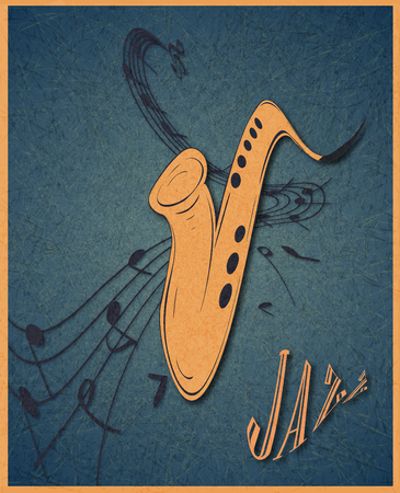 Illustration of saxophone and musical notes on stave, grunge background and texture. Banque d'images - 107353571
