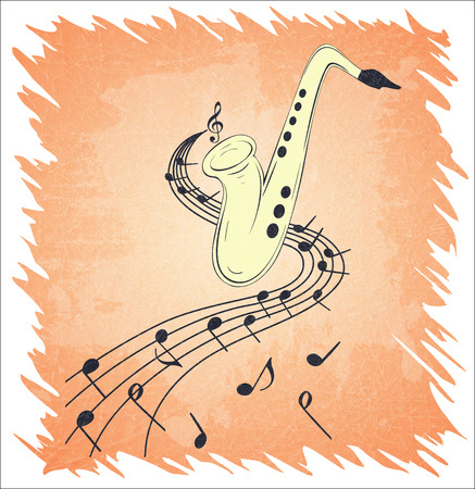 Illustration of saxophone and musical notes on stave, grunge background and texture. Banque d'images - 107353574