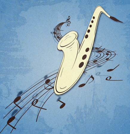 Illustration of saxophone and musical notes on stave, grunge background and texture. Banque d'images - 107353578