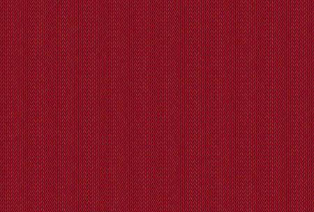 Red knitted texture, wool melange yarn. Vector seamless background can be used as wallpaper, design element. Perfect place for your text. Woolen cloth, handmade. Horizontal orientation. Vector Illustration