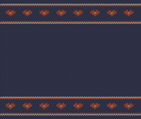 Wool knitted pattern with red  hearts on blue  background.