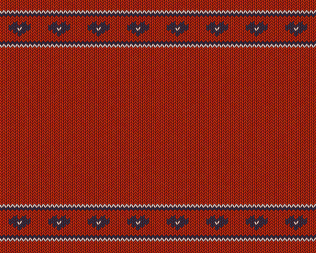 Wool knitted pattern with blue hearts on red  background.