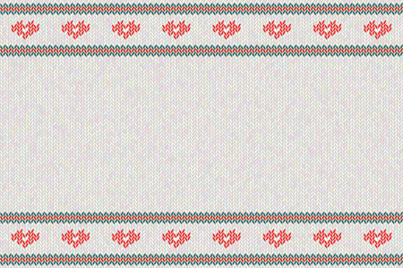 Wool knitted pattern with red  hearts on white background.