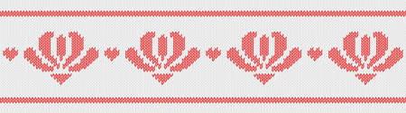 Jacquard wool knitted pattern with red flowers on white background. Vector on theme of Valentine's Day, Merry Christmas. Suitable for congratulations, romantic mood, wallpaper. Horizontal.