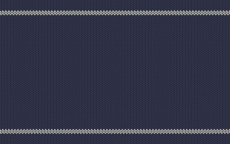 Knitted cotton texture. White stripes on blue background. Seamless woolen cloth, handmade. Vector suitable as wallpaper, design element, perfect place for your text. Horizontal. Illustration