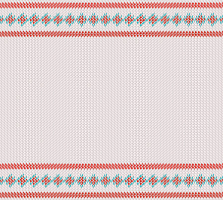Knitted striped pattern on white woolen background. Ilustração