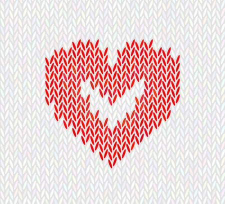 Wool knitted pattern with red heart on white background. Seamless vector on theme of Valentines Day, Merry Christmas. Suitable for congratulations, romantic mood, wallpaper.