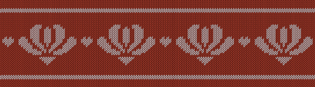 Jacquard wool knitted pattern with white flowers on red background. Seamless vector on theme of Valentine's Day, Merry Christmas. Suitable for congratulations, romantic mood, wallpaper. Horizontal.
