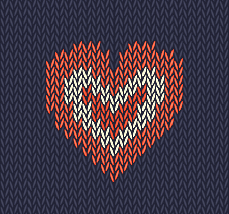 Wool knitted pattern with red heart on blue background. Seamless vector on theme of Valentine's Day, Merry Christmas. Suitable for congratulations, romantic mood, wallpaper.