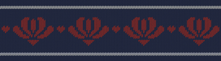 Jacquard wool knitted pattern with red flowers on blue background. Seamless vector on theme of Valentine's Day, Merry Christmas. Suitable for congratulations, romantic mood, wallpaper. Horizontal.