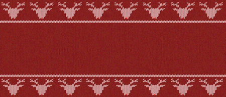 Seamless knitted  texture on burgundy, red background with deers.