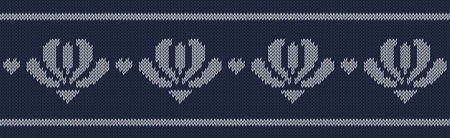 Jacquard wool knitted pattern with white flowers on blue background. Seamless vector on theme of Valentines Day, Merry Christmas. Suitable for congratulations, romantic mood, wallpaper. Horizontal.