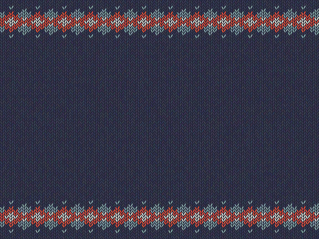 Knitted striped pattern on blue woolen background.