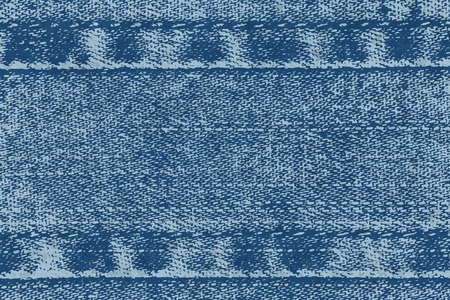 Vector background of denim fabric with seams. Blue jeans cloth. Old vintage backdrop with place for your text. Grunge texture in retro style. Horizontal orientation.