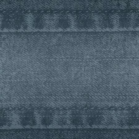 Vector background of denim fabric with seams. Blue dark jeans cloth. Old vintage backdrop with place for your text. Grunge texture in retro style. Square orientation. Ilustração