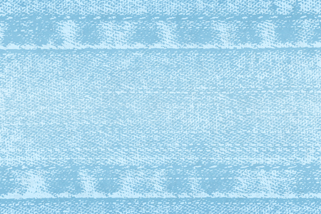 Vector light background of denim fabric with seams. Blue bright jeans cloth. Old vintage backdrop with place for your text. Grunge texture in retro style. Horizontal orientation. Ilustração