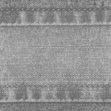 Vector background of denim fabric with seams. Grey  jeans cloth. Old vintage backdrop with place for your text.