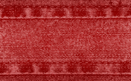 Vector background of denim fabric with seams. Red jeans cloth. Old vintage backdrop with place for your text. Ilustração