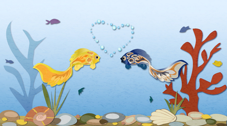Sea landscape with two cute fish in love. Romantic feeling concept.