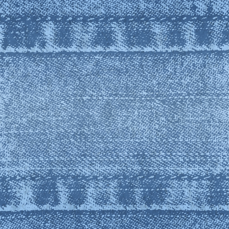 Vector background of denim fabric with seams. Blue bright jeans cloth. Old vintage backdrop with place for your text. Grunge texture in retro style. Horizontal orientation. Ilustração