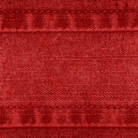 Vector background of denim fabric with seams. Red jeans cloth. Old vintage backdrop with place for your text. Grunge texture in retro style. Square orientation. Ilustração