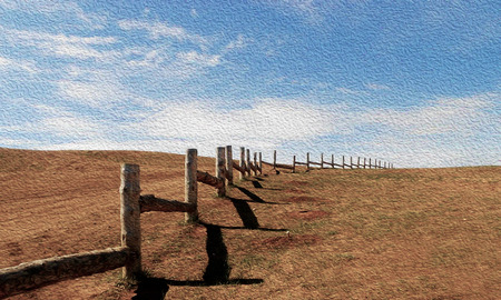 Beautiful summer landscape of pasture for cattle. Wooden fence in prairie, blue sky with clouds.