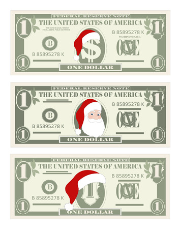 Design template one Dollar Banknotes with Santa Claus and red hat. 1 dollar bill for Christmas sales, green color. Suitable for discount cards, leaflet, coupon, flyer, vouchers. Vector in flat style. 向量圖像
