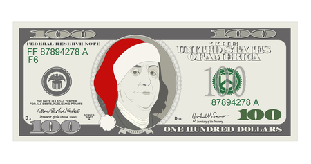 Design template 100 Dollars Banknote with Santa red hat. One hundred dollar bill for Christmas sales. American president Benjamin Franklin. Suitable for discount cards, coupon, flyer, vouchers. Иллюстрация