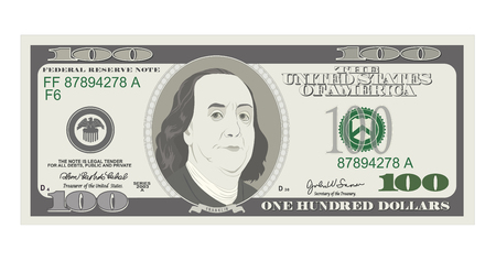 100 Dollars Banknote. Bill one hundred dollars. Suitable for discount cards, coupon, flyer, vouchers. USA banking currency. Vector, flat style. American president Benjamin Franklin. Иллюстрация