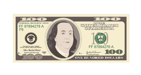 100 Dollars Banknote. Bill one hundred dollars. Suitable for discount cards, coupon, flyer, vouchers. USA banking currency. Vector, flat style. American president Benjamin Franklin. 向量圖像