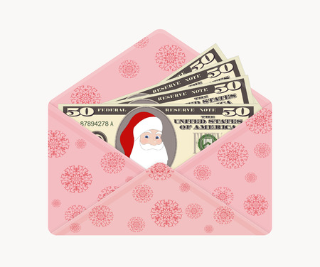 Bill one hundred dollars with Santa Claus. 100 Dollars Banknote in open pink envelope with snowflakes, isolated on white background. Christmas vector in flat style.