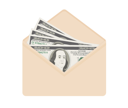 USA banking currency in open beige envelope. One hundred dollar bills as gift, close-up. Bribe in envelope, bribery and corruption. Vector illustration. Dollar banknotes as present, salary.