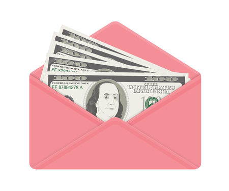 USA banking currency in open pink envelope. One hundred dollar bills as gift, close-up. Bribe in envelope, bribery and corruption. Vector illustration. Dollar banknotes as present, salary.