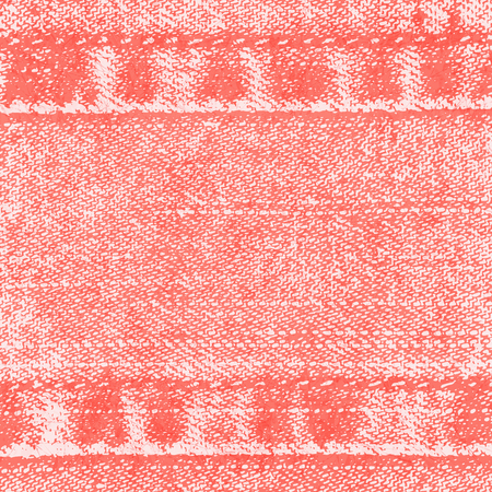 Vector background of denim fabric with seams. Light red jeans cloth. Cheerful, bright, energetic color of Living Coral. Old vintage backdrop with place for your text. Grunge texture in retro style.