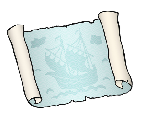 Sketch of ancient scroll with ship, isolated on white background. Sailboat floating on blue waves. Empty sheet of parchment paper with place for your text. Hand drawn vector illustration. Horizontal.