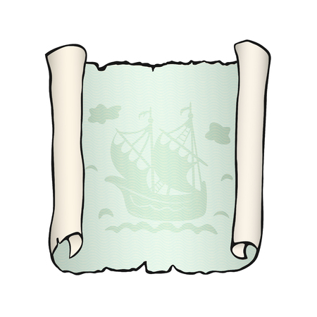 Sketch of ancient scroll with ship, isolated on white background. Sailboat floating on green waves. Empty sheet of parchment paper with place for your text. Hand drawn vector illustration. Square. Vettoriali