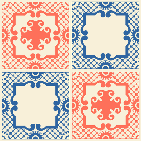 Ethnic motives for wallpaper, printing on fabric or paper. Vintage traditional ceramic tile. Vector ornament in country boho Style. Universal seamless pattern fills. Modern, fashionable colors. Foto de archivo - 113580893