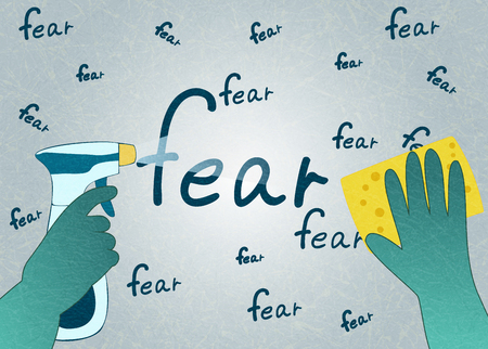 Hands in green gloves with sponge and spray erase the word fear. The concept is to purify the mind from fear. Flat vector illustration with noise and texture, marble textured background. Horizontal.